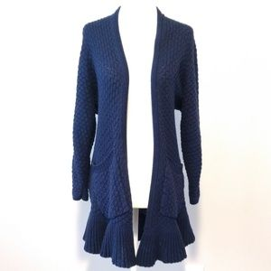 Anthro Guinevere Navy Open Knit Ruffle Cardigan